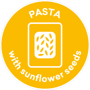 Pasta with sunflowers seeds